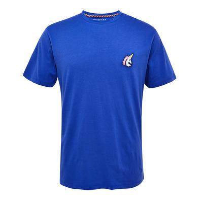 Mavrična modra majica z izvezenim samorogom