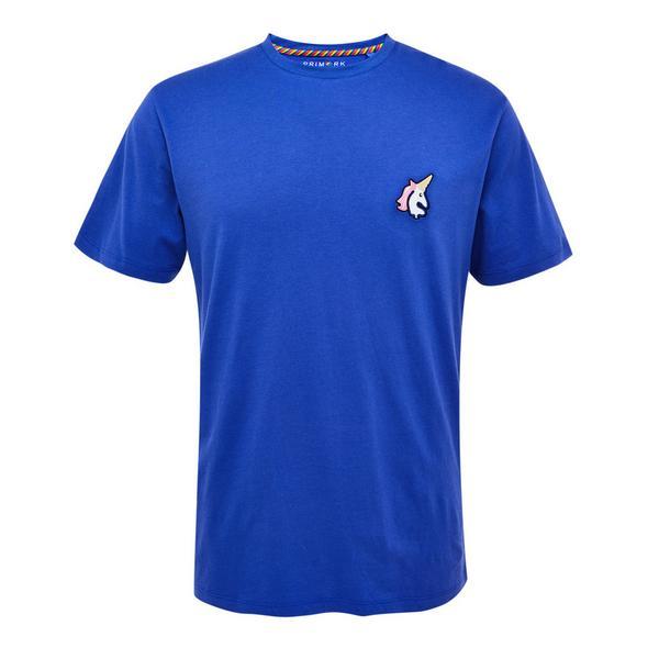 Blue Embroidered Pride Unicorn T-Shirt