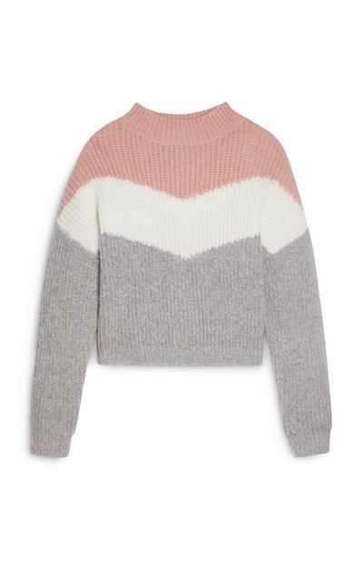Maglione rosa design a V da ragazza