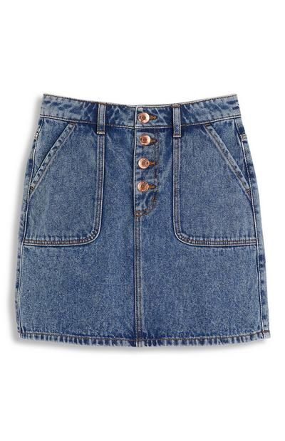 Older Girl Buttoned Denim Skirt
