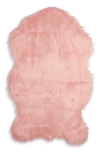 Imitação pele carneiro pequena cor-de-rosa