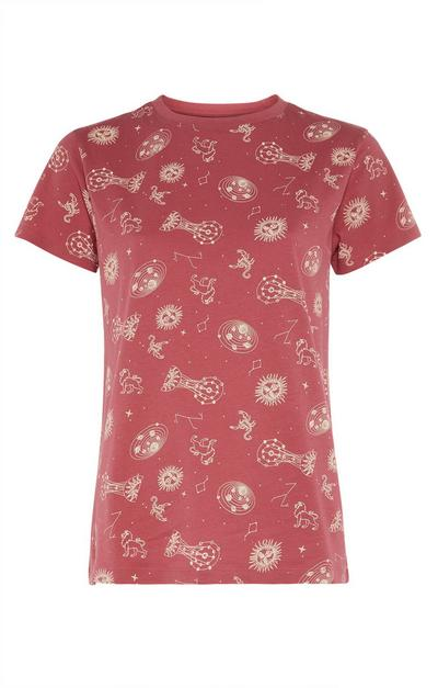 Astrological Print T-Shirt in Red