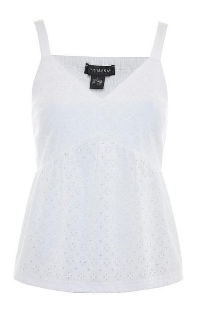 White Broderie Peplum Camisole Top