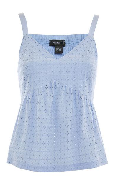 Powder Blue Broderie Peplum Camisole Top
