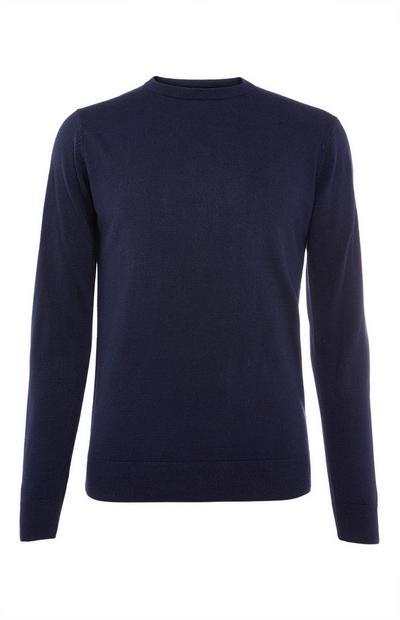 Donkerblauwe sweater van acryl