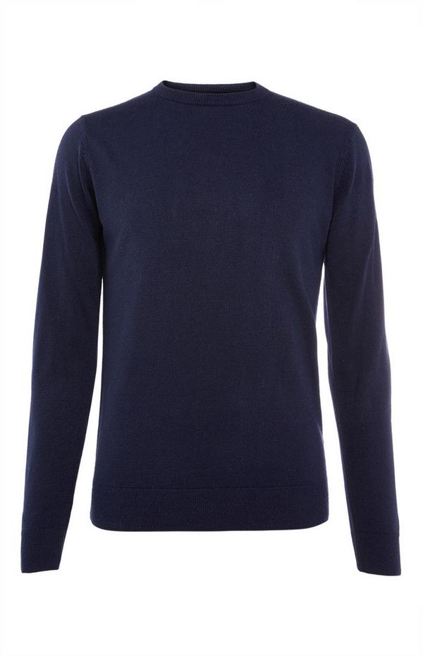 Solid Navy Acrylic Sweater