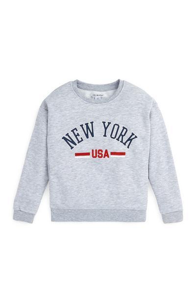 Siv pulover New York z okroglim ovratnikom za starejša dekleta