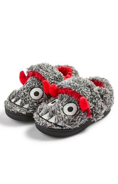 Younger Boy Grey Fleece Monster Cupsole Slippers