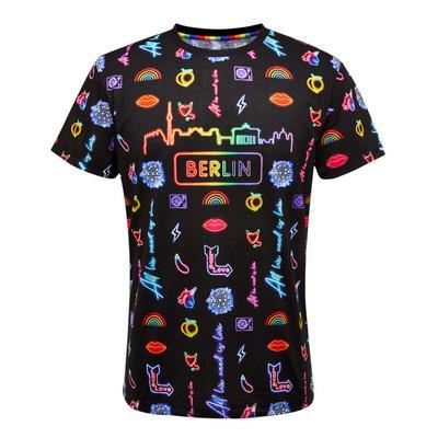 Mavrična majica z neonskim potiskom Berlin