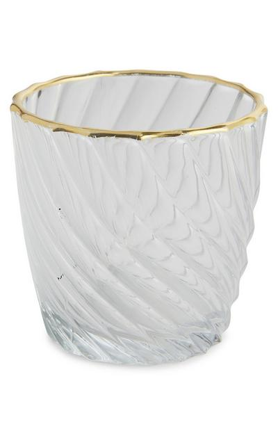 Clear Fluted Glass Tealight Holder With Gold-Tone Rim