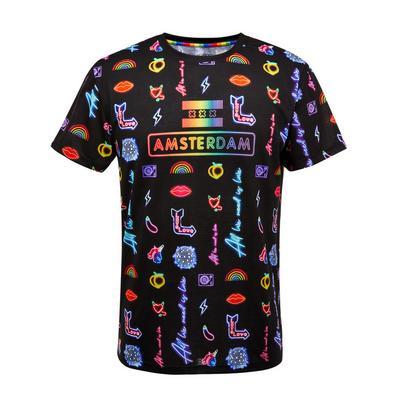Mavrična majica z neonskim potiskom Amsterdam