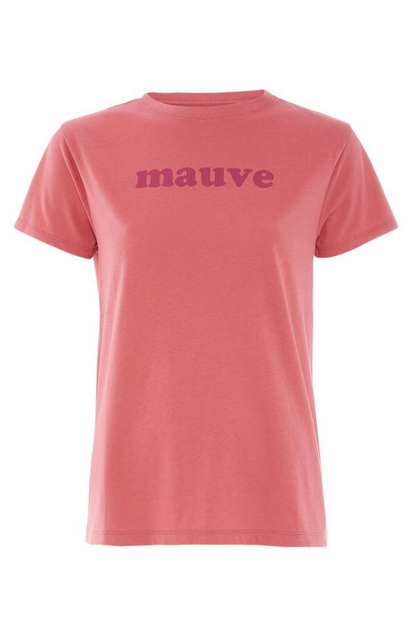 Coral Mauve Printed T-Shirt