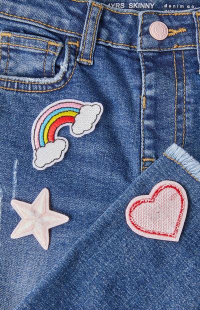 Opvallende jeans met badge voor meisjes
