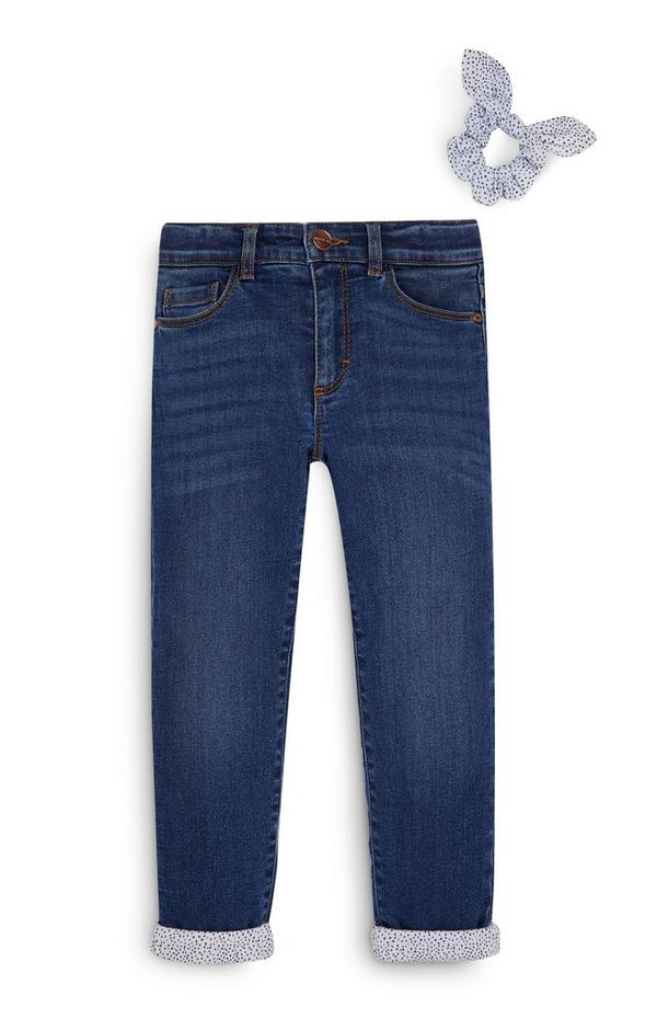 Younger Girl Lined Jeans and Scrunchie