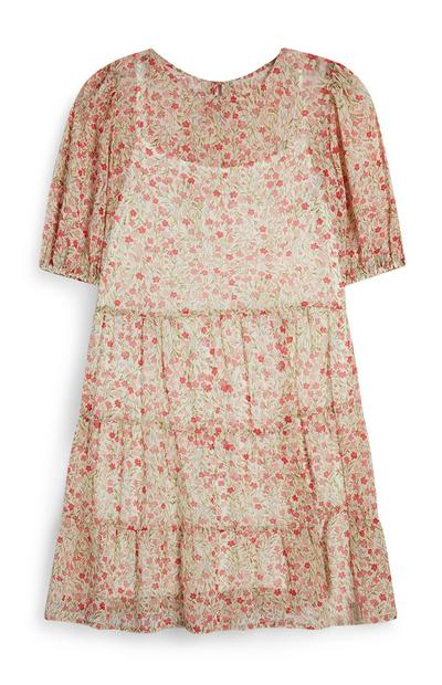 Floral Tiered Sheer Layer Tea Dress