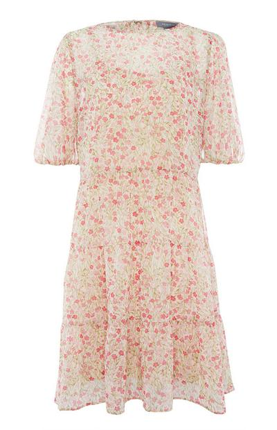 Beige and Pink Floral Tiered Tea Dress