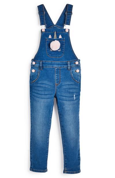 Blauwe tuinbroek van spijkerstof met eenhoorn voor meisjes