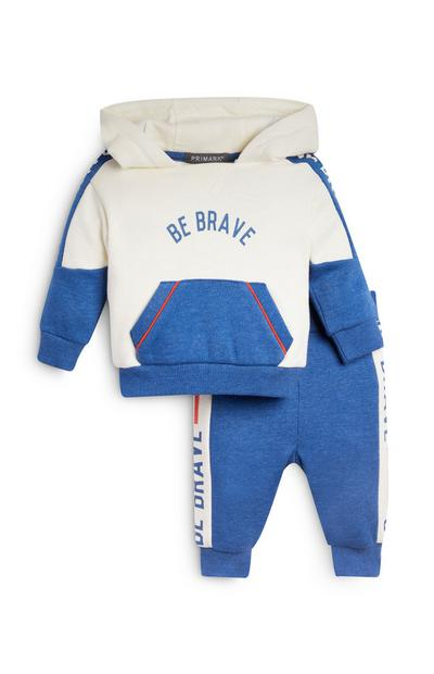 Conjunto calças treino/camisola capuz Be Brave menino bebé