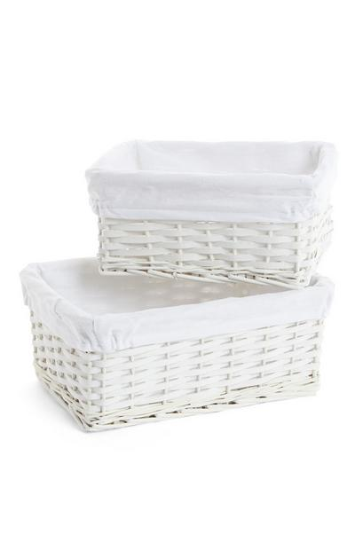 White Wicker Baskets 2 Pack