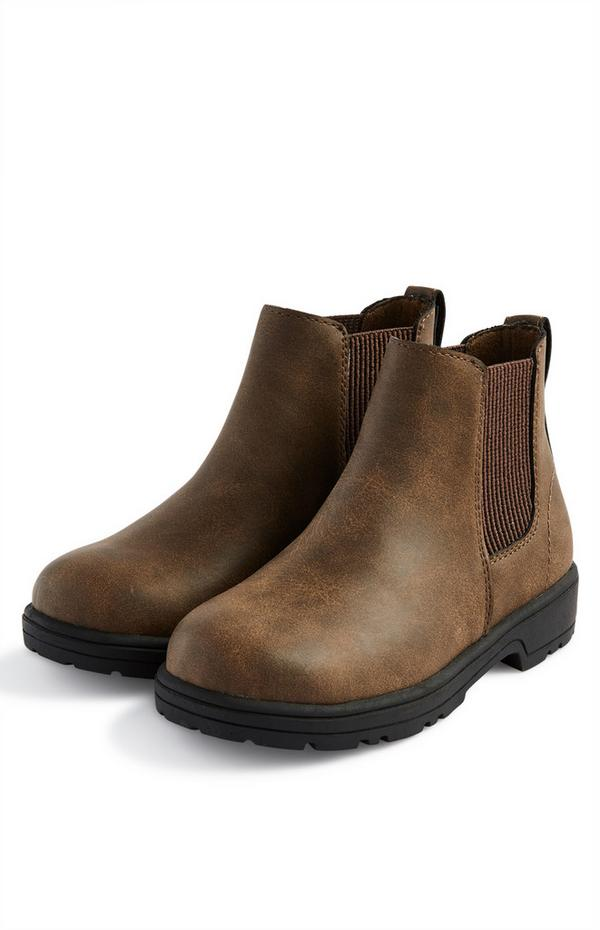 Younger Boy Brown Pu Leather Chelsea Boots