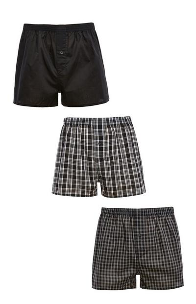 Black Check Print Woven Boxers 3 Pack
