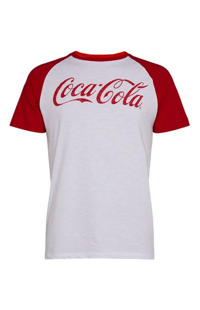 White and Red Coca Cola Raglan T-Shirt