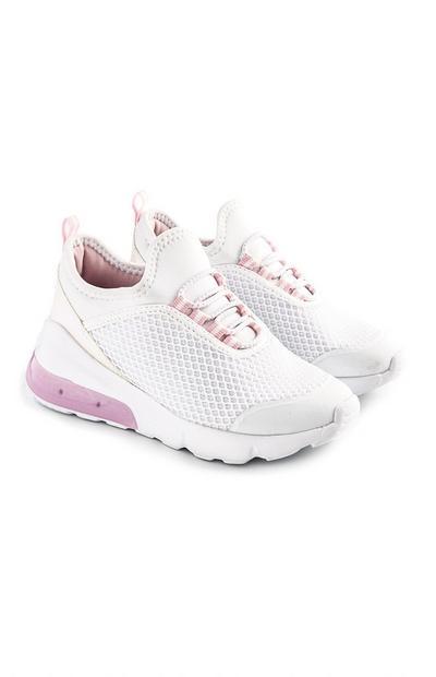 Weiß-rosafarbene Sneaker mit Leuchteffekt