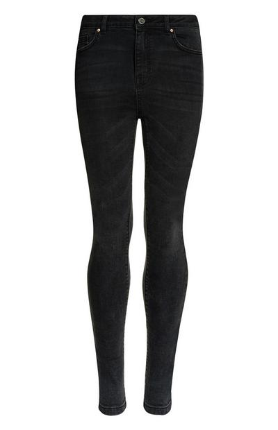 Schwarze, authentische High-Waist-Skinny-Jeans