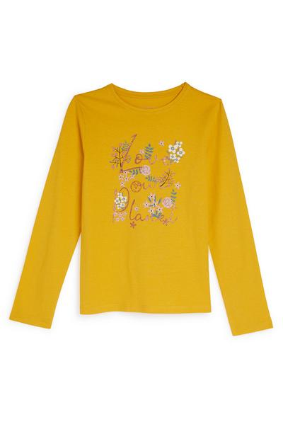 Older Girl Yellow Slogan Longsleeve Top