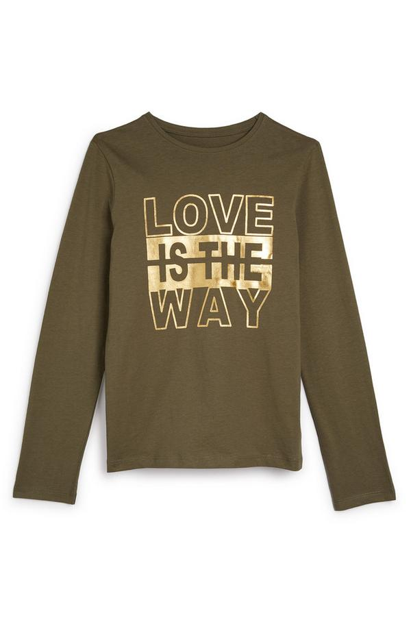 """Khakifarbenes """"Love Is The Way"""" Langarmtop (Teeny Girls)"""