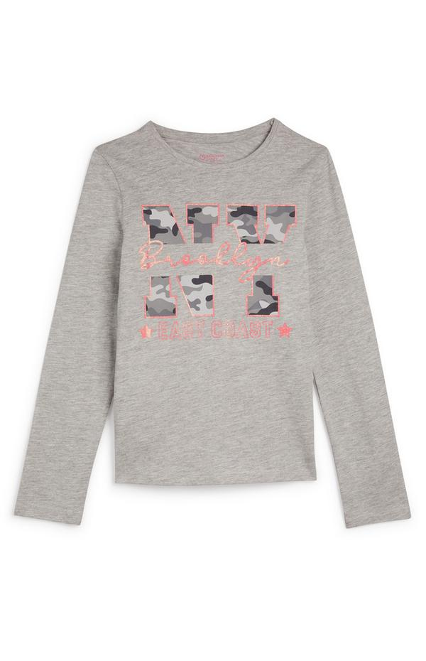 Older Girl Gray Brooklyn NY Long Sleeve T-Shirt