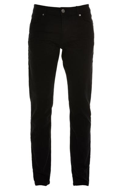 Black Twill Straight Leg Pants