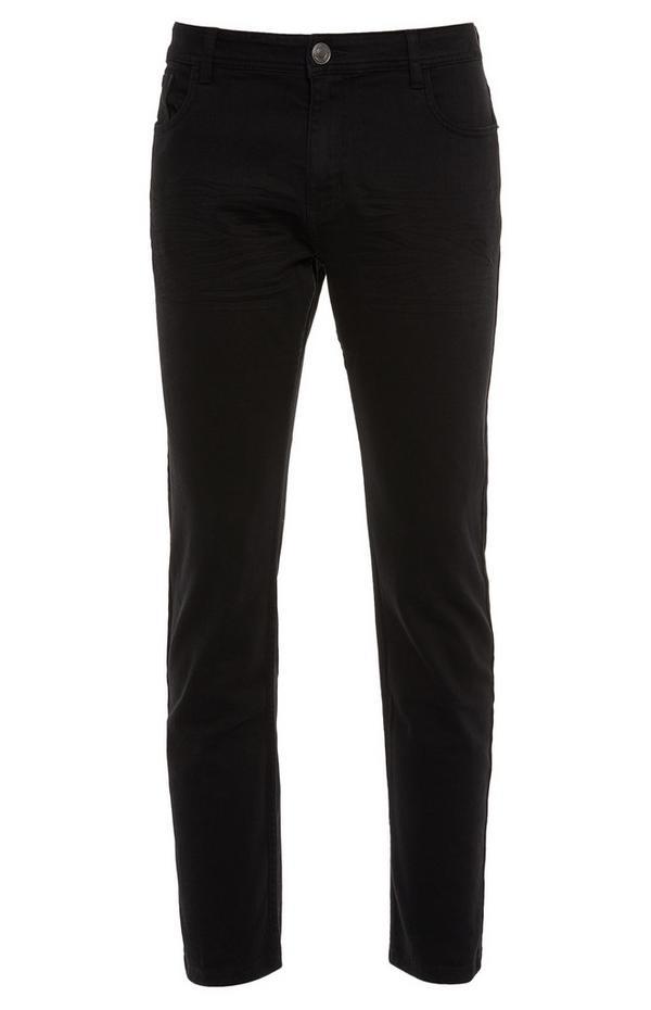 Zwarte broek van twill-katoen met rechte pijpen