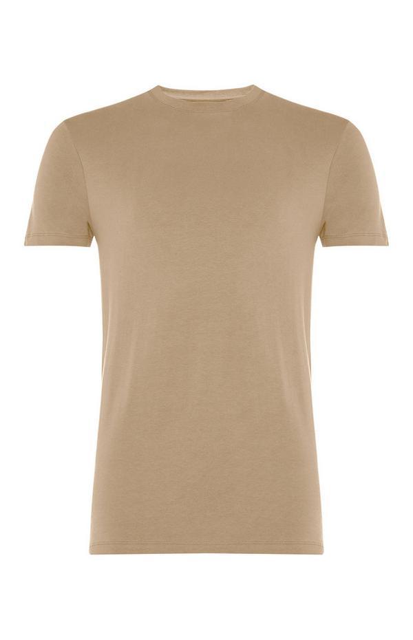 Beigefarbenes Stretch-T-Shirt mit Rundhalsausschnitt