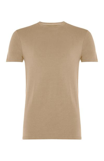 Beige Stretch Crew Neck T-Shirt