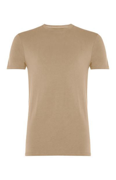 T-shirt gola redonda elastano bege