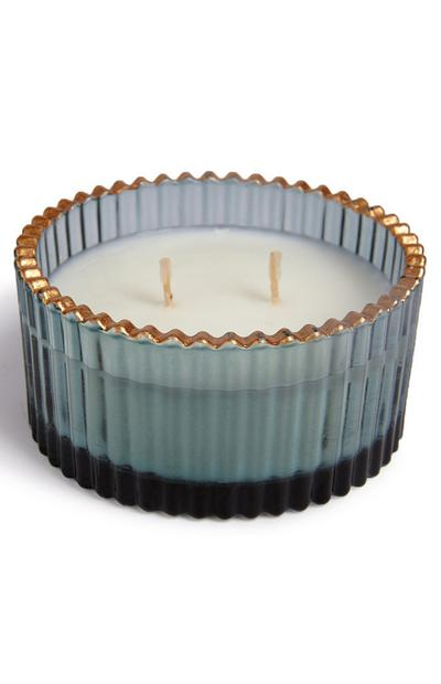Blue And Goldtone Rim 2-Wick Ribbed Glass Candle