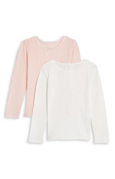Girls White and Blush Thermal Long Sleeve Top 2 Pack