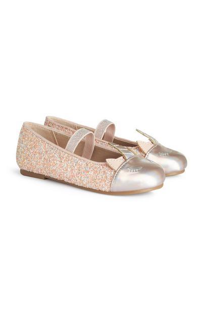 Younger Girl Pink Glitter Unicorn Ballet Shoe