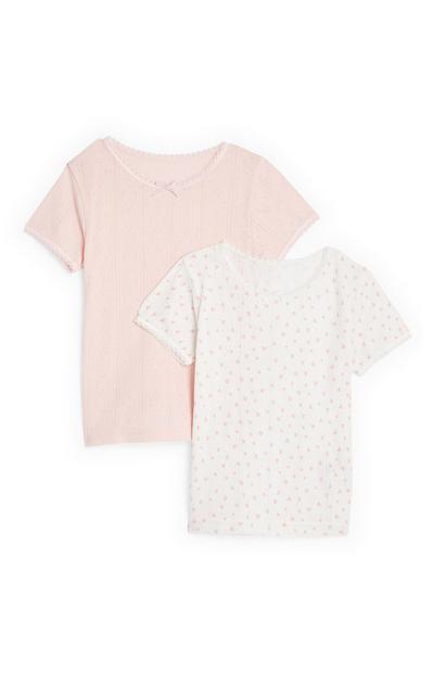 Pack 2 t-shirts térmicas rapariga rosa-pálido