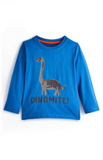 Blaues Langarmshirt mit Dinosaurier für Babys (J)