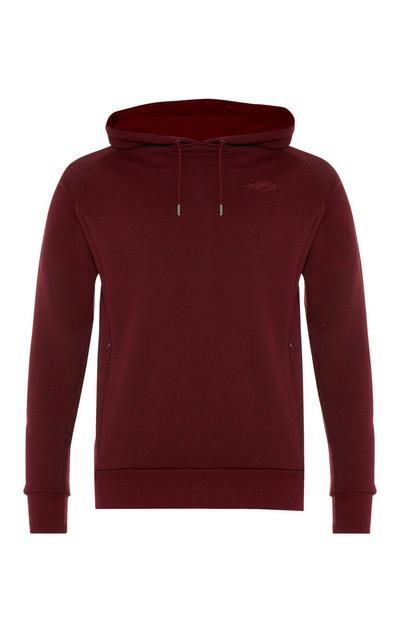 Sweat à capuche bordeaux à poche zippée