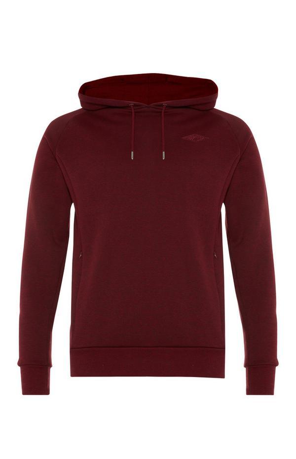 Wijnrode hoodie met zak met rits