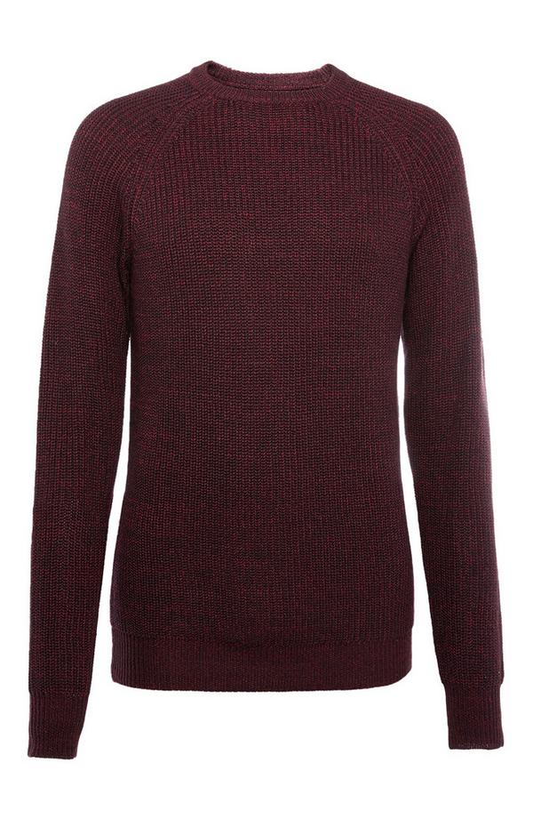 Wine Texture Rib Sweater