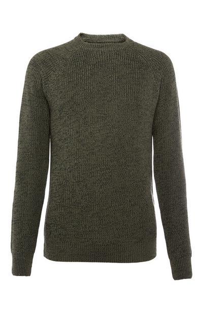 Grijze geribde sweater met textuur