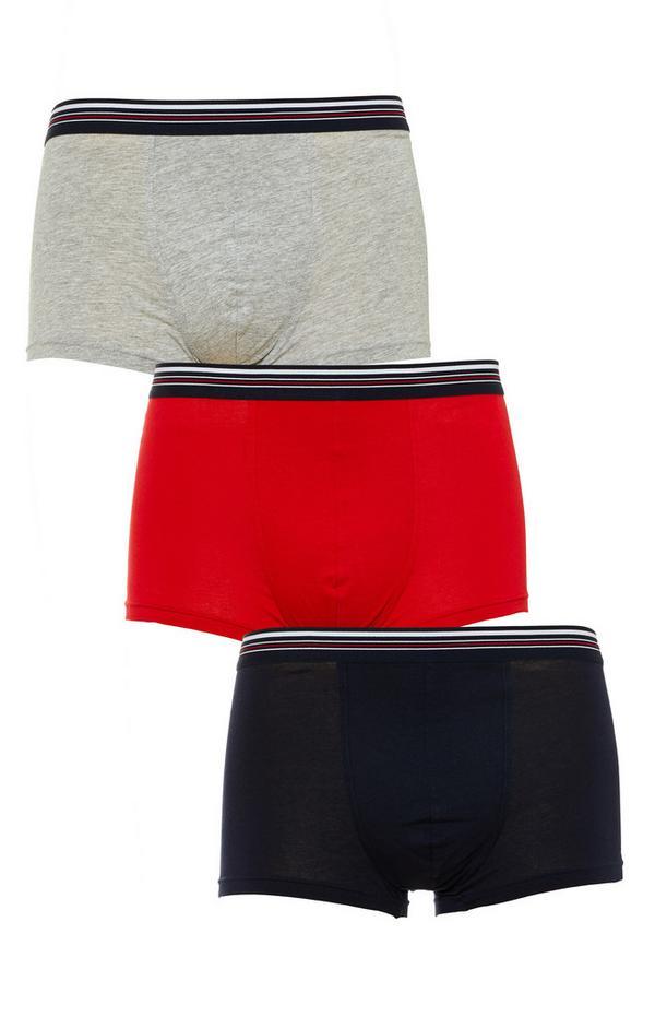 Pack 3 boxers valor vermelho/cinzento