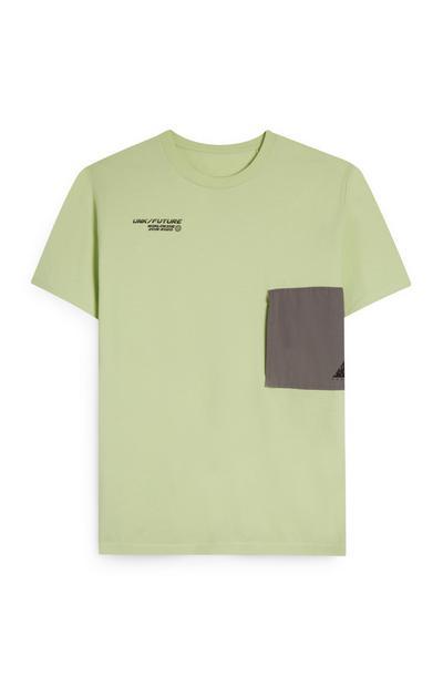 T-shirt fluo con taschino grigio