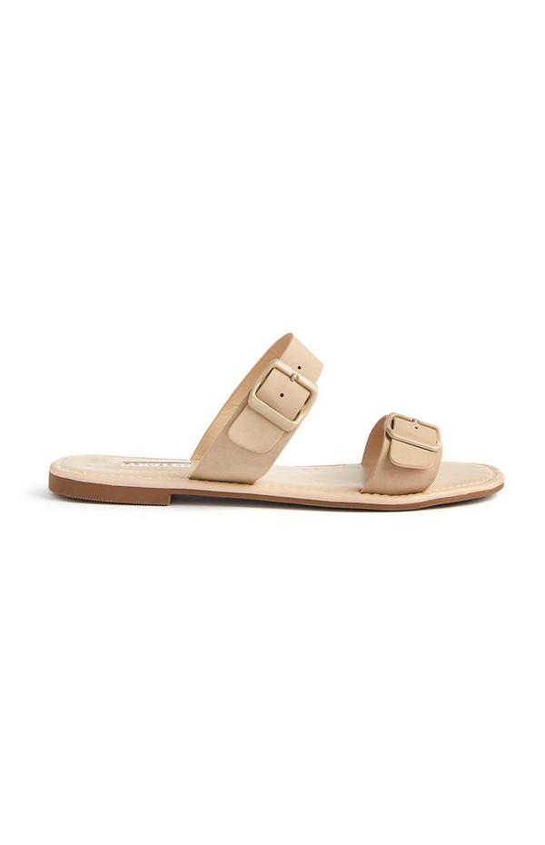 Sandálias fivela tira dupla creme