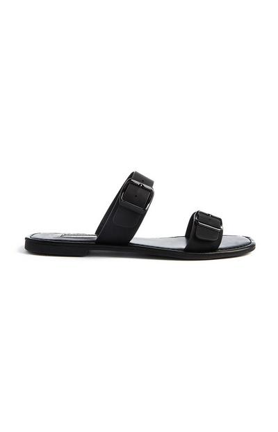 Black Double Strap Buckle Mules