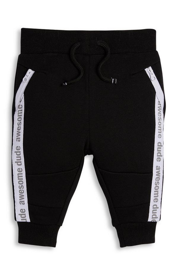 Baby Boy Black Tapered Joggers